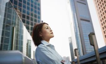 žena, budova