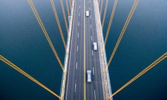 silnice, auta, most